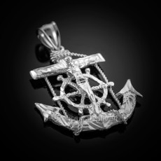 Sterling Silver Mariner Crucifix Cross Anchor Pendant