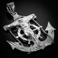 Sterling Silver Mariner Crucifix Anchor Mens Large Cross Pendant