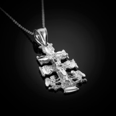 Sterling Silver Caravaca Crucifix Cross Pendant Necklace