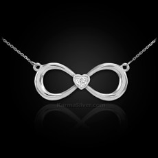 Sterling Silver Infinity CZ Heart Necklace