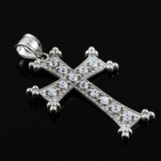 Sterling Silver Armenian Cross Clear CZ Pendant