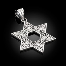 Sterling Silver Vintage Oxidized Star of David Ornament Pendant Necklace