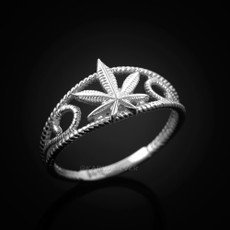 Sterling Silver Filigree Marijuana Weed Womens Ring