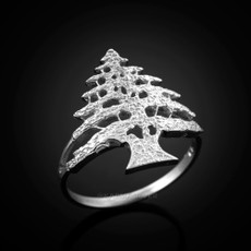 Sterling Silver Lebanon Cedar Tree Womens Ring
