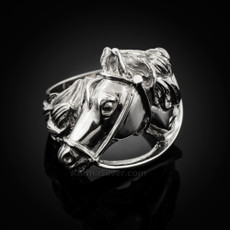 Sterling Silver Horse Head Mens Equestrian Ring