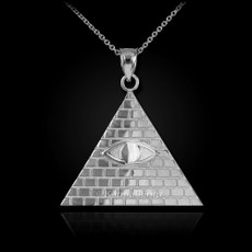 Sterling Silver Illuminati Pyramid All Seeing Eye Pendant Necklace