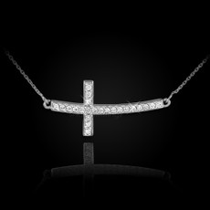 Sterling Silver Sideways Curved Cross CZ Necklace