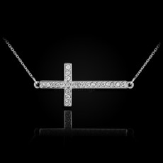 Sterling Silver Sideways Cross CZ Necklace