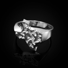 Sterling Silver Mens Texas Nugget Ring