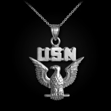 Sterling Silver US Navy USN Eagle Pendant Necklace