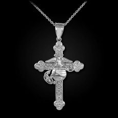 Sterling Silver US Marines Christian Cross Pendant Necklace