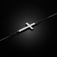 Sterling Silver Sideways Cross Cute Bracelet