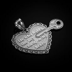 "Sterling Silver Two Piece ""Key of My Heart"" Detachable Pendant"