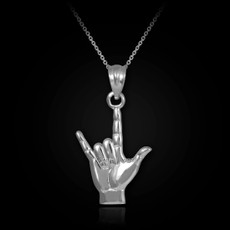 Sterling Silver Shaka Sign Charm Pendant Necklace