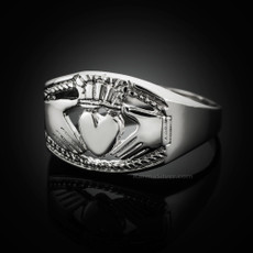 Sterling Silver Mens Bold Claddagh Ring