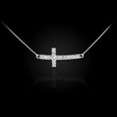 Sterling Silver Sideways Curved CZ Cross Necklace