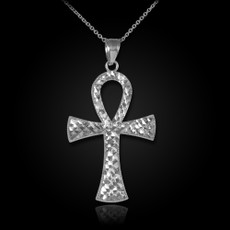 Sterling Silver Egyptian Ankh Cross DC Pendant Necklace