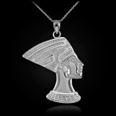 Sterling Silver Egyptian Queen Nefertiti Pendant Necklace