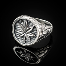 Silver Marijuana Weed mens Ring