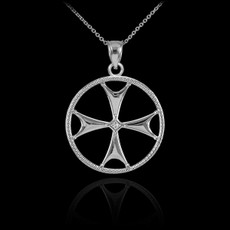 Sterling SIlver Maltese Cross CZ Pendant Necklace