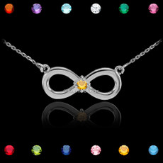 Sterling Silver Infinity Birthstone CZ Necklace