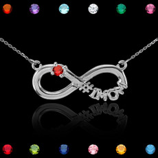 Sterling Silver Infinity #1 MOM Birthstone CZ Necklace