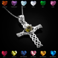 Sterling Silver Claddagh Celtic Cross CZ Birthstone Pendant Necklace