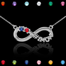 Sterling Silver Infinity #1 MOM Dual Birthstone CZ Necklace