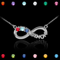 Sterling Silver Infinity #1 MOM Triple Birthstone CZ Necklace