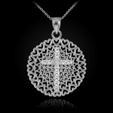 Sterling Silver Filigree Heart Cross CZ Pendant Necklace