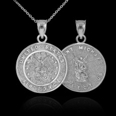 Sterling Silver US Air Force Reversible St. Michael Pendant Necklace