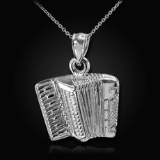 Sterling Silver Solid Music Accordion Pendant Necklace