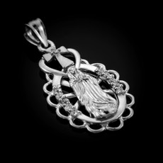 Sterling Silver Virgin Mary Guadalupe CZ Pendant Necklace