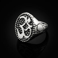 Sterling Silver Om (aum) Mens Ring