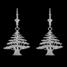 Sterling Silver Lebanese Cedar Tree Earrings