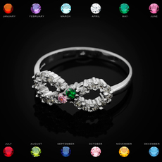 Sterling Silver Infinity Dual Birthstone CZ Ring