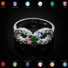 Sterling Silver Infinity Triple Birthstone CZ Ring