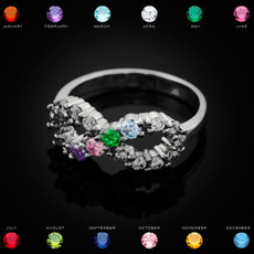 Sterling Silver Infinity Four Birthstone CZ Ring