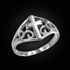 Sterling Silver Filigree Cross Ladies Ring