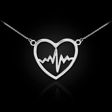 Sterling Silver Heart Pulse Necklace