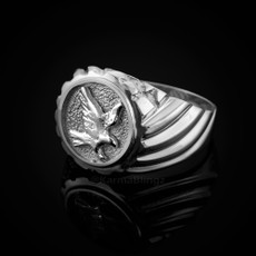 Sterling Silver American Eagle Mens Ring