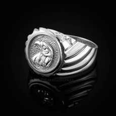 Sterling Silver Eagle Head Mens Ring