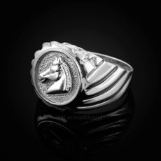 Sterling Silver Horse Head Mens Ring