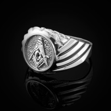 Sterling Silver Solid Masonic Mens Ring