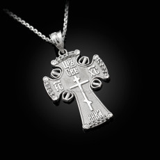 Sterling Silver Russian Orthodox Cross CZ Pendant Necklace
