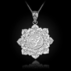 Sterling Silver Om Lotus Mandala Pendant Necklace