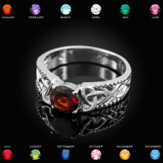 Sterling Silver Celtic Triquetra CZ Birthstone Ring