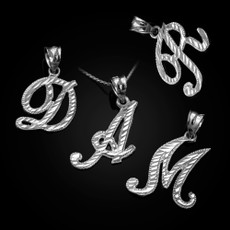 Sterling Silver Sparkle-Cut Letter Initial Script Pendant Necklace