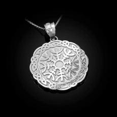 Sterling Silver Viking Compass Pendant Necklace