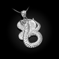 Sterling Silver King Cobra Pendant Necklace
